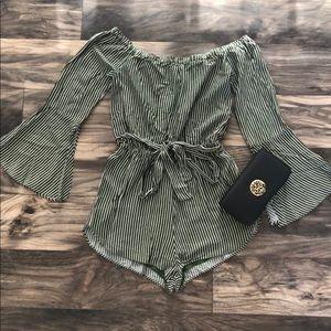 Emerald Green Urban Outfitters Pinstripe Romper